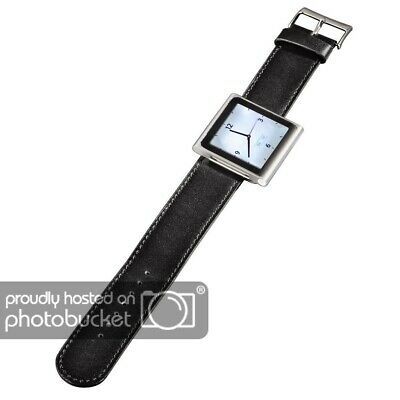 Hama Leder-Uhrenarmband 22 cm für iPod Nano 6G 6 Watch Armbanduhr Schwarz Band Leder Ipod Armband