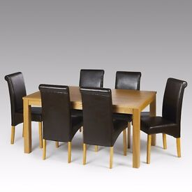 Brand new leather-wooden dining chairs (x6)
