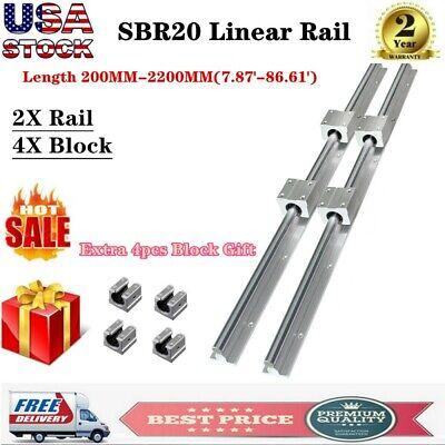 2pcs Sbr20 L200-1500mm Linear Rail Guide Shaft Rod 8pcs Sbr20uu Block Bearing