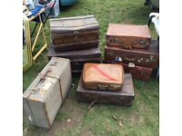 Vintage suitcases and trunks - 8 in total