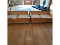 Under Bed Storage Boxes / Drawers (qty 2, in Pine)