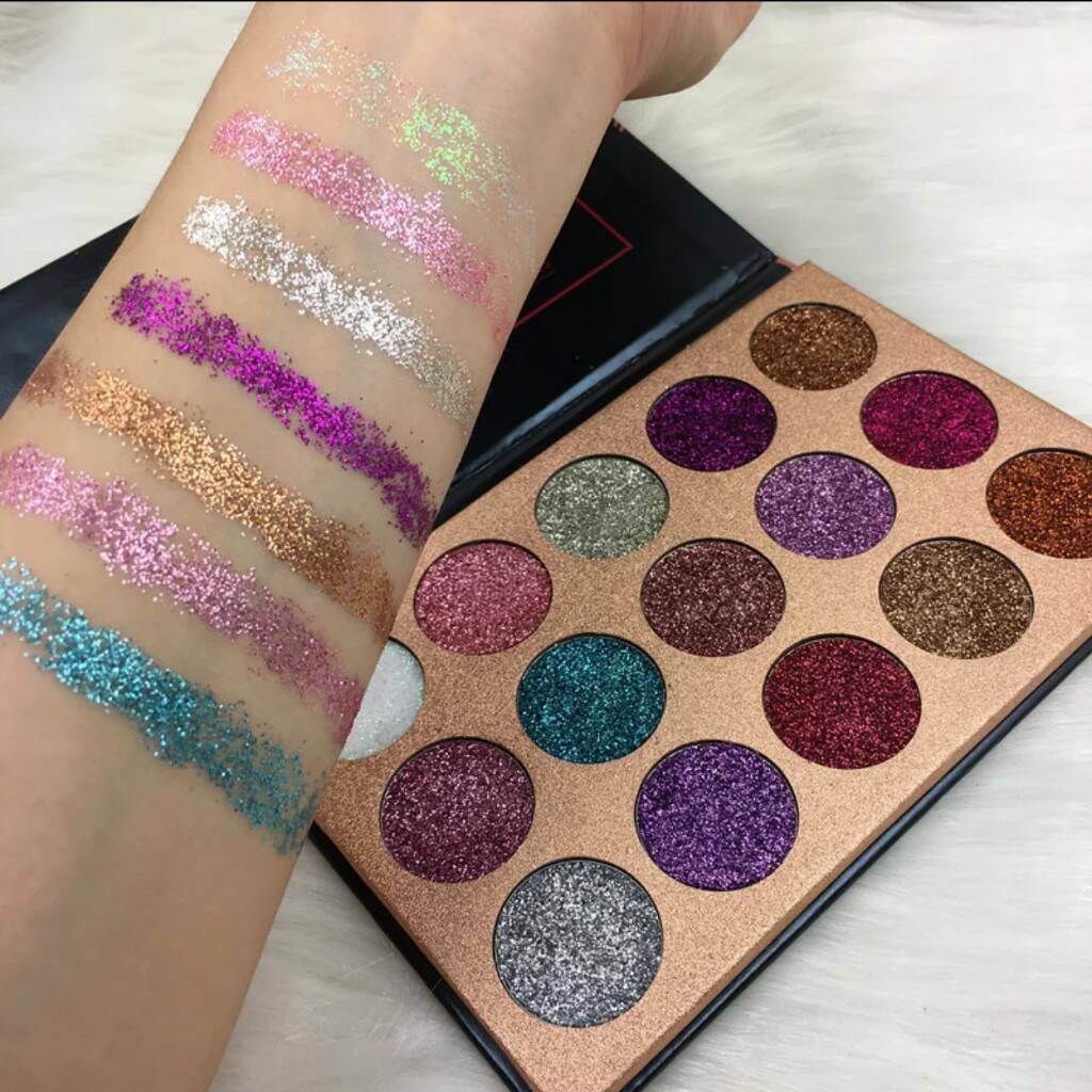 15 Pressed Glitter Eyeshadow Palette