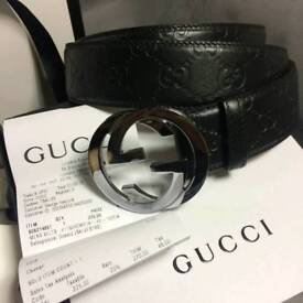 Mens black embossed classin sued inner leather belt gucci boxed receipt included