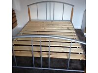 Double Highgate Healthopaedic bed to include 2 B & Q double wardrobes size each h: 67 w: 38 d:19