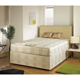 AMAZING OFFER !! DOUBLE DIVAN BED BASE WITH LUXURY POCKET SPRUNG MATTRESS FAST DELIVERY