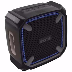 iHome IBT371BGC Waterproof Bluetooth Wireless Speaker with Accent Lighting - Black/Grey(Open Box)