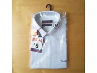 PIERRE CARDIN Mens Shirt SHORT SLEEVE White w/ Blue Stripes M Medium REGULAR FIT