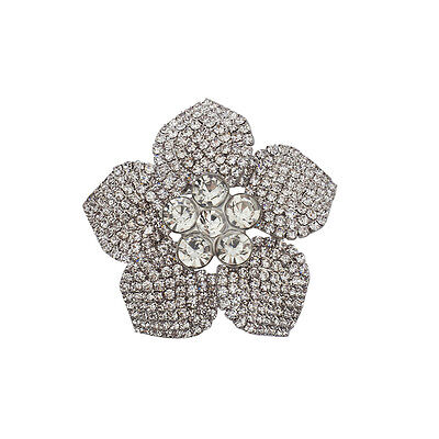 Lux Accessories Silver Tone Crystal Pave Rhinestone Flower Bridal Brooch Pin