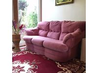 3 seater sofa and 2 Armchair ( 1 RECLINER ARMCHAIR ) Dralon Pink very good condition with delivery