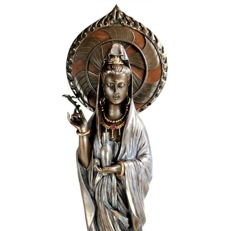 "KWAN YIN STATUE 17"" Buddhist Goddess Lotus HIGH QUALITY Guan Quan Bronze Resin"