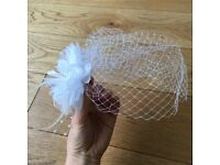 Bridal Bird Cage Veil White