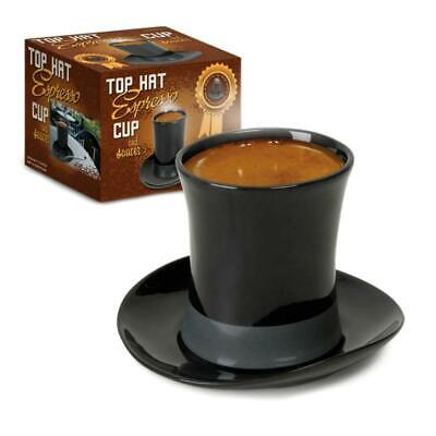 Top Hat Espresso Cup and Saucer Black Ceramic Novelty Gift New in Box Coffee Tea