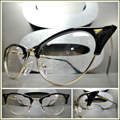 Classy Retro Cat Eye Style Clear Lens EYE GLASSES Unique Pointy Black Gold (Gold Cat Eye Glasses)