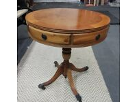 Quality Quality Quality Round Burr Walnut Coffee Table with Two Working Drawers