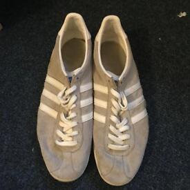 Light grey Adidas gazelle trainers