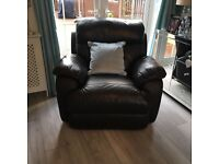 Brown Leather Electric Lazy Boy Three Piece Suite