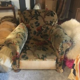 Very Old Beautiful Floral Velvet Upholstered Club Style Armchair