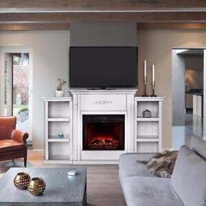 Crawford elegant White Ivory w/ Electric Fireplace 5000btu Bookcases TV Stand - BRAND NEW - FREE SHIPPING
