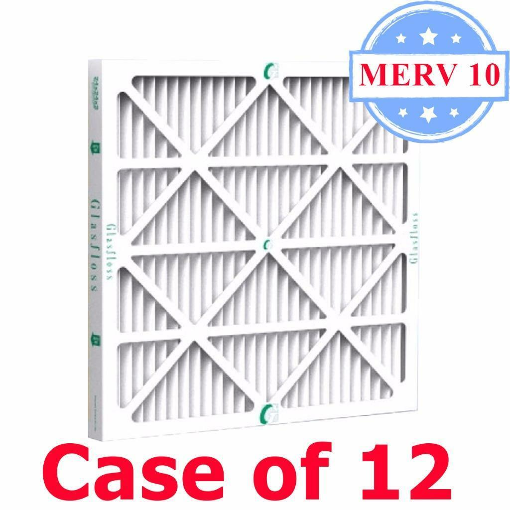 20x25x2 Air Filter MERV 10 Pleated by Glasfloss - Box of 12