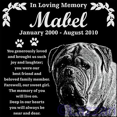 Personalized Bullmastiff Dog Pet Memorial 12x12 Granite Grave Marker Headstone
