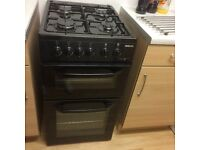 Beko black gas cooker with 4 month warranty remaining