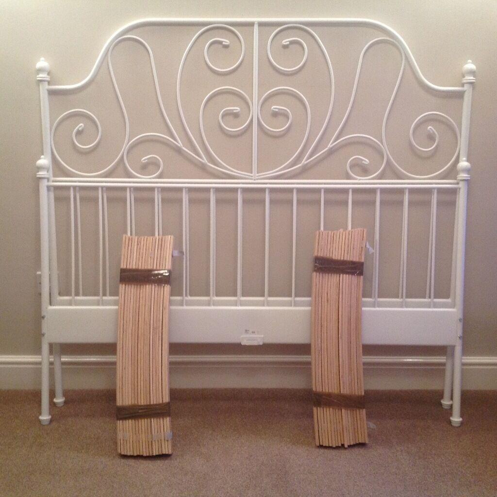 King Size Bed Frame Ikea Leirvik White Metal Bed Frame