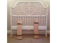 King Size Bed Frame: IKEA Leirvik White Metal Bed Frame+Luroy Wooden Slatted Base - As New (9m old)