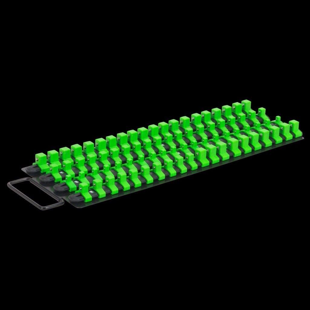 """Socket Rail Tray Hi-Vis Green ¼"""", ⅜"""" ½"""" Sq Drive"""