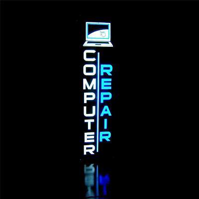 New Led Computer Repair Vertical Laptop Blue Sign Light Box  Neon Alternative
