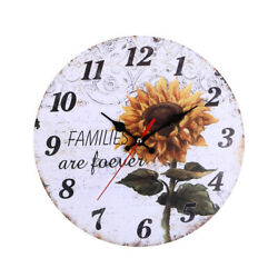 Large Kitchen Wall Clock Vintage Sunflower Hanging Home  Wooden Retro Decoration