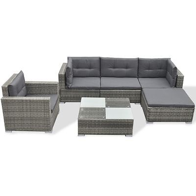 6PC Alfresco Rattan Wicker Sofa Garden Sectional Couch Patio Furniture Set Gray
