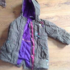 Green padded girls parka age 2-3 years