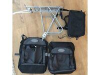 Massload drop down pannier rack and creek2peak side bags and rack top bag