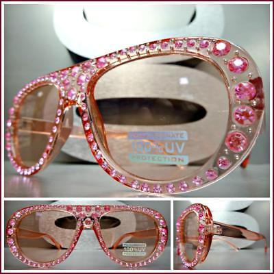 Klassisch Retro-Stil Sonnenbrille Rosa Gestell Bling Strass Kristallen