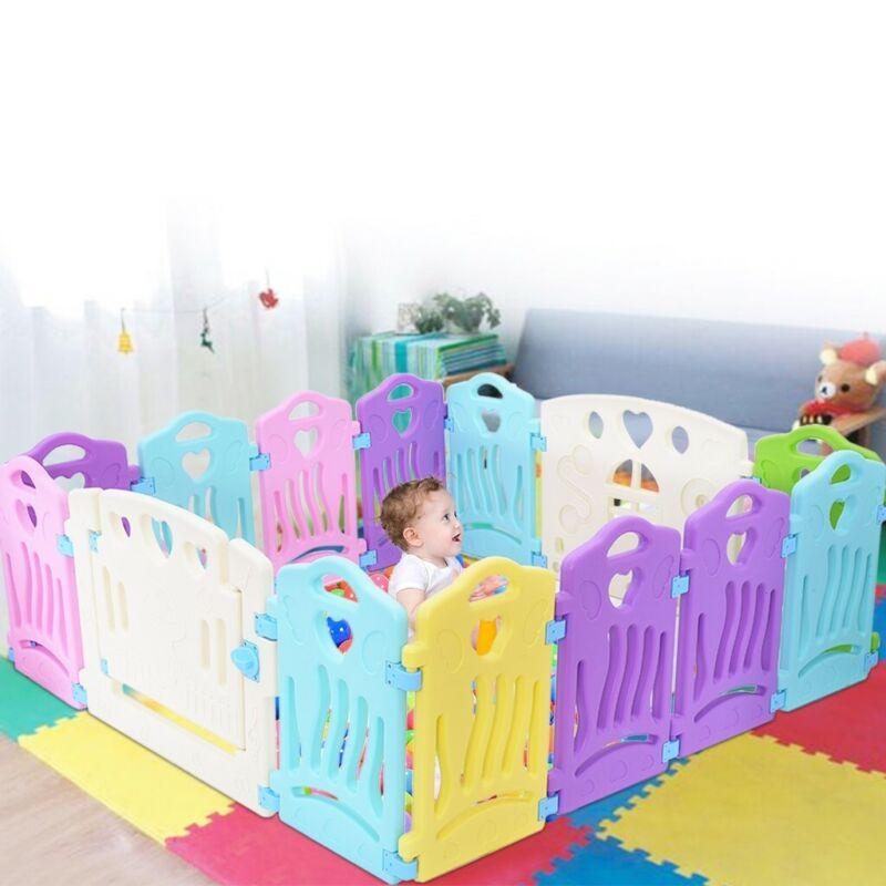Baby Kids Playpen Fence 14 Panel Safety Fun Activity Center