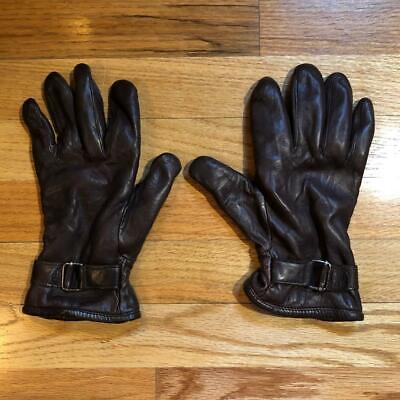 WOMENS GRANDOE BROWN LINED ADJUSTABLE BUCKLE LEATHER GLOVES SZ M* Grandoe Lined Gloves