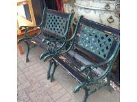 2x Vintage cast iron garden chairs