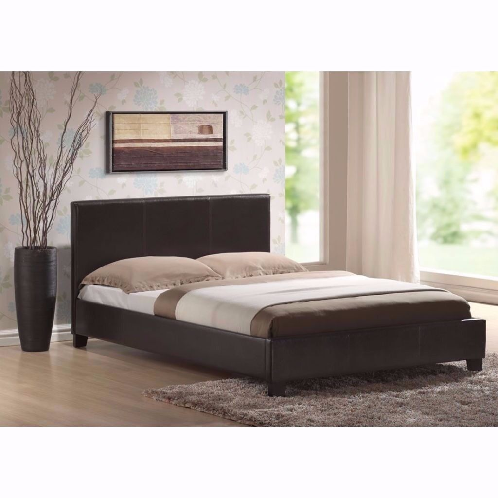 **BRAND NEW DOUBLE Leather Bed Frame in black / Brown With Deep Quilted Mattress