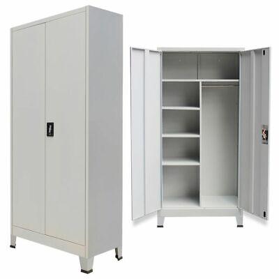 Metal Locker Cabinet With 2 Doors Shelves Steel Storage Wardrobe Home Office