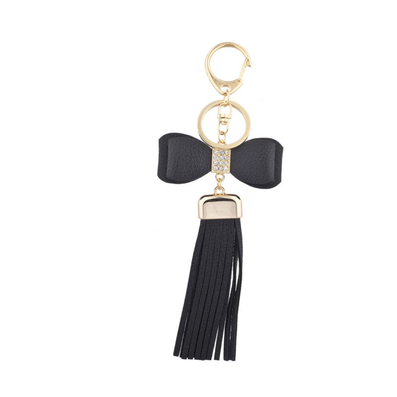 Lux Accessories Black Bow and Gold Tone Short Leather Tassel KeyChain Bag Charm