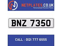 'BNZ 7350' Personalised Number Plate Audi BMW Ford Golf Mercedes VW Kia Vauxhall Caravan van 4x4