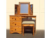 Solid Pine Wood dressing table desk with triple 3 mirror and stool chair