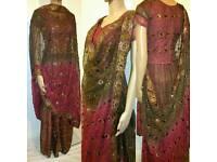 Asian Indian Pakistani New Designs EID DRESS Bridel Dress Party wear SAREE LEHNGA KAMEEZ Size Small