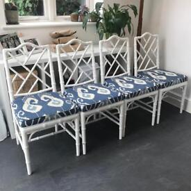 Chippendale style faux bamboo CHAIRS Vintage Chinese Ikat Upholstered x4