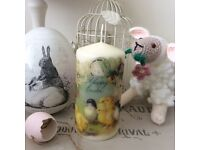Easter ~ Shabby Chic Vintage Style ~ Decorative Ivory Pillar Candle ~