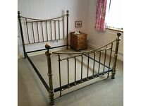 """""""and so to bed"""" Antique Brass Victorian Style King Size bed. Excellent condition. £500."""