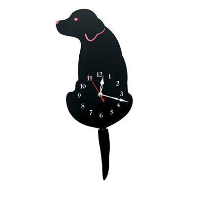 Cute Tailing Wagging Labrador Dog Wall Clock Cartoon Animal Pet Clock Black