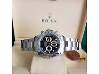 Silver Rolex Daytona with black face silver casing and all silver bracelet comes with Rolex box bag