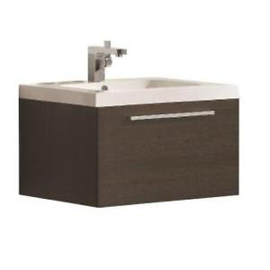 1-drawer wall hung vanity, Luxo Marbre, with white sink