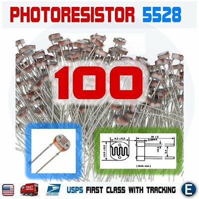 100pcs 5528 5mm 10k-20k Photoresistor Light-dependent Resistor Sensor Gl5528 Usa